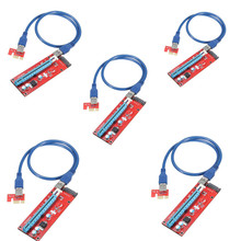5pcs Extender Cable USB 3.0 Converter SATA PCI Express PCI-E 1X to 16X Riser Card 6 Pin DC Power Supply Cable 60CM For Mining