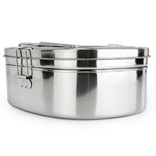 High capacity Silver Simple Square Stainless Steel Food Container Bento Lunch Boxs 2 layer