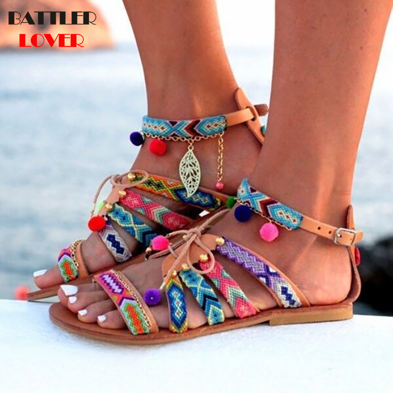 Plus Size 34-43 Ethnic Bohemian Summer Women Pompon Sandals Gladiator Roman Strappy Embroiderry Shoes Mujer Womens Flat Sandals
