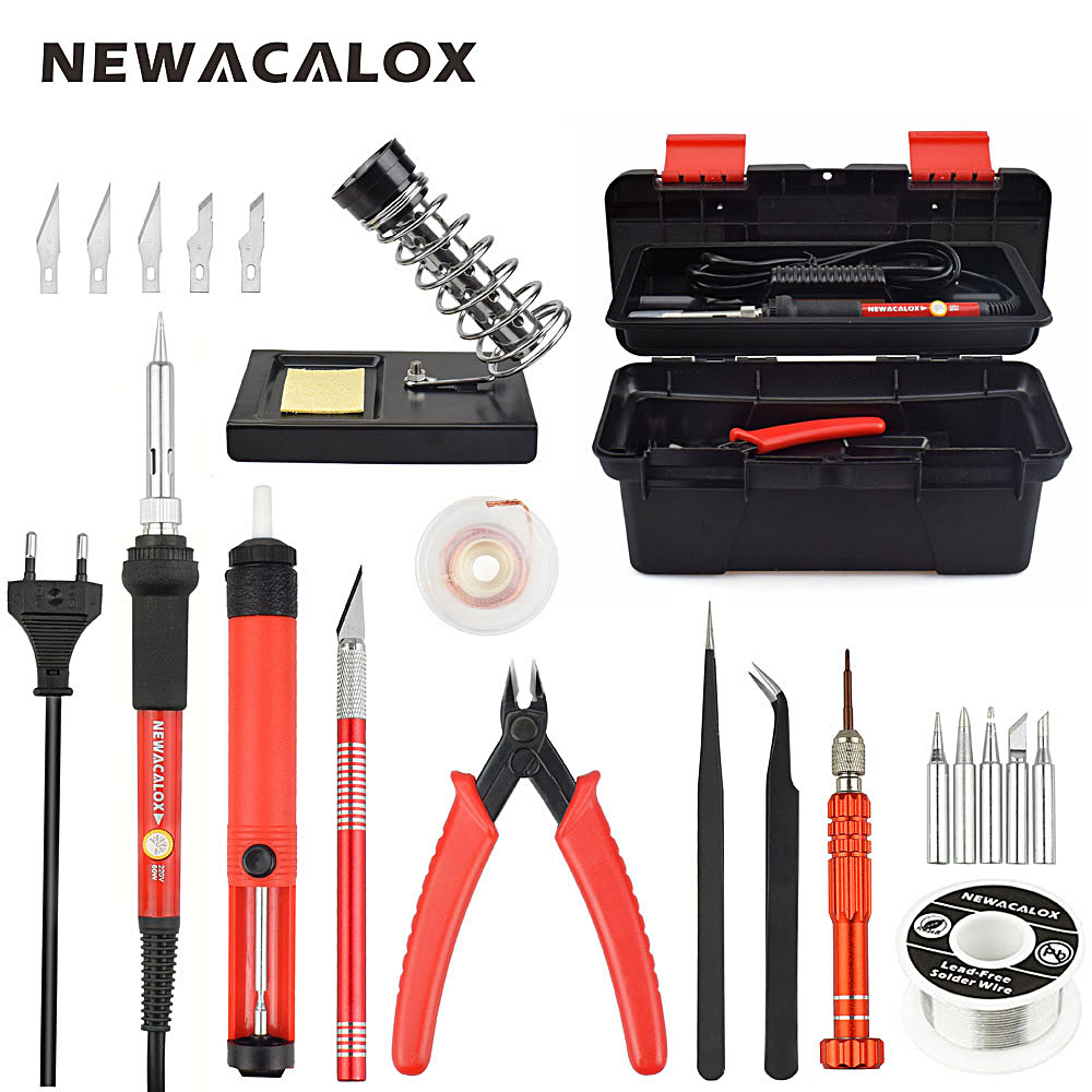 NEWACALOX Red EU 220V 60W Adjustable Temperature Electrical Soldering Iron Kit Welding Repair Tool Set with Tool Box 25pcs/lot<br>