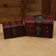 2PC Handmade Vintage Wooden Box Antique Retro Home Jewellery Boxes Containner for Storage Small Sundries Decorative Craft Holder