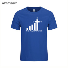 Get Connected To Jesus T Shirt Design Fashion Creative Pattern Tops Cool Casual Novelty Funny T-shirt Men Summer Style Tee