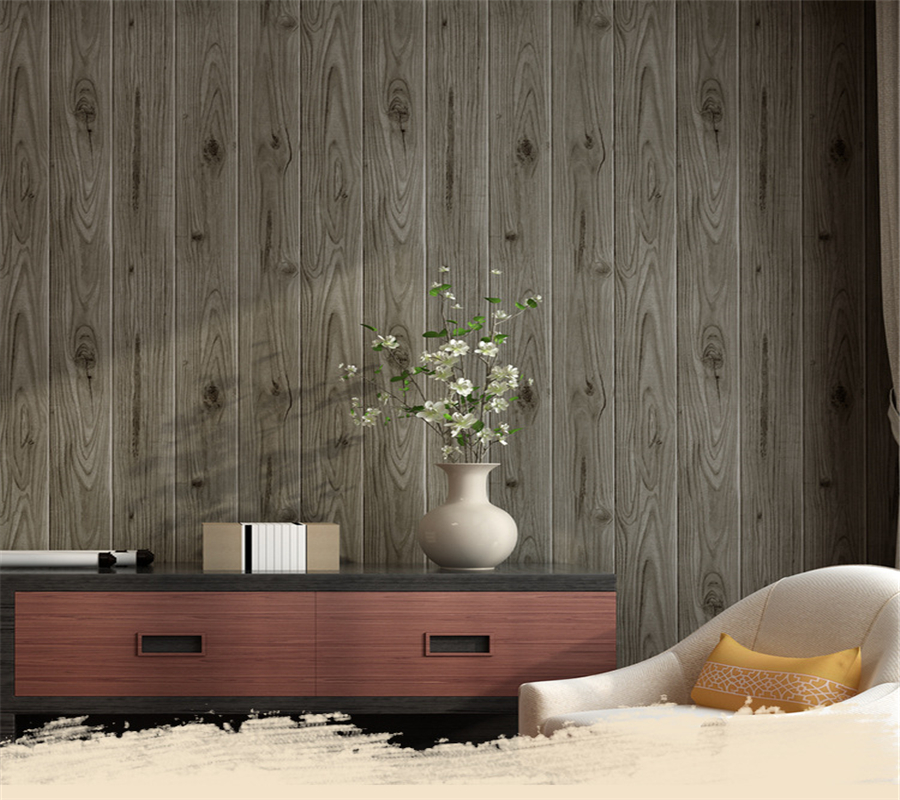 Beibehang papel de parede Wood grain Wallpaper Wood color Garment Shop Restaurant Corridor Background wallpaper for walls 3 d <br>