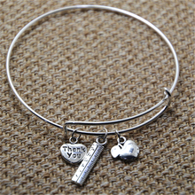 12pcs Teacher-Bracelet with apple, ruler and thank you heart for teachers silver tone bangles(China)