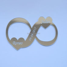 20pcs/lot 10*7cm Infinity symbol Acrylic Mirror Stickers Wedding dresses wedding props Memorial sign(China)