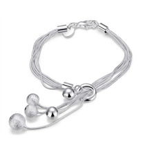 2017 bangle bracelet femme fashion Jewelry five ball chain bracelets charms for women Top Quality Silver Plated Stamped 925 H243(China)