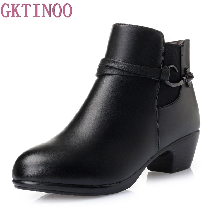 GKTINOO Autumn Winter Genuine Leather + PU Buckle Ankle Boots For Women Round Toe High Heels Shoes Women Warm Fur Big Size<br>