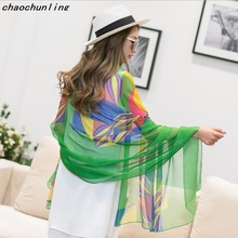 Russian Most Popular 2017 Beach Scarves Printing Imitation Silk Pashmina Sexy Women Fashion Shawl White Blue Green Yellow Pink