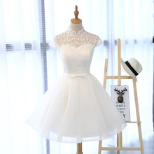 Really Photo In Stock High Quality Short Sleeve High Neck Robe De Mariage Appliques Lace Embroidery Lilac Dress Evening Dress(China)
