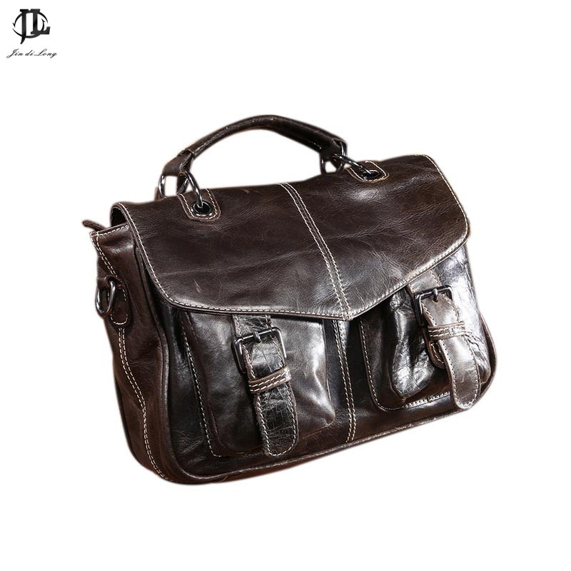 Classic Retro Oil Waxed Genuine Leather Cowhide Womens Messenger Bag Ladies Satchel Crossbody Shoulder Bags Handbag Rucksack<br>