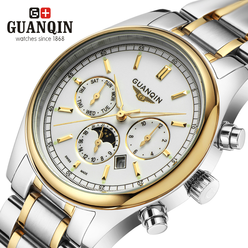 Luxury Brand Mens Watch GUANQIN GQ12002 New Business Men Watches Full Steel Bracelet Casual Quartz Watch Sports Military Clock<br>