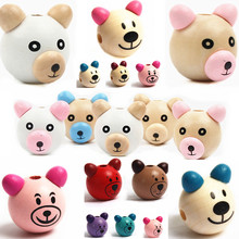 Wooden Cartoon 3D Bear Beads Ball Smiling Face Wood DIY Pacifier Clip & Jewelry Children Kids Craft - Store store