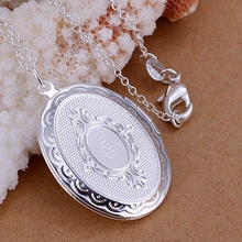 Free shipping wholesale for women's fashion jewelry chains necklace silver plated pendant photo frame pendant necklace SP163