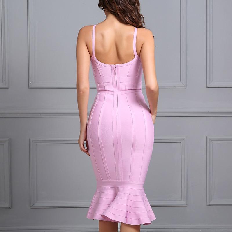 Adyce-2017-Women-Summer-Bandage-Dress-Pink-Spaghetti-Strap-Mermaid-Vestidos-V-Neck-Knee-Length-Celebrity