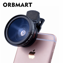 ORBMART Universal Clip Professional HD Camera Lens Kit 0.45x Super Wide Angle Lens + 12.5x Super Macro Lens Mobile Phone Lense(China)