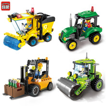 2017 ENLIGHTEN City Series Road Roller Forklift Truck Tractor Sweeper Truck Building Blocks Toys For Children Best Gifts