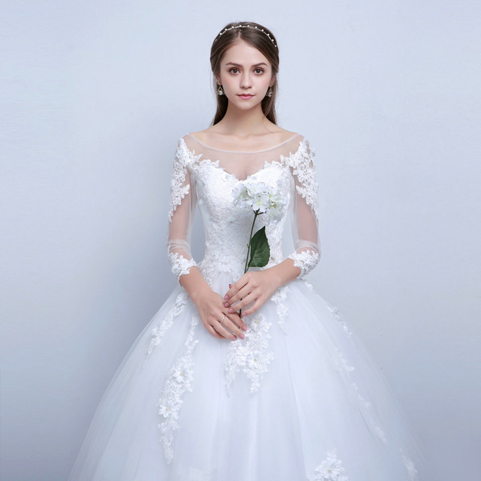 LAMYA Real Photo Princess Elegant Wedding Dresses With Long Lace Sleeve High Quality Ball Gown Bridal Gowns Vestidos De Noiva 9
