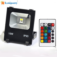 LumiParty High Power 10W RGB LED Project Lamp Waterproof Timing Changing Color Light with Remote Controller jk30(China)