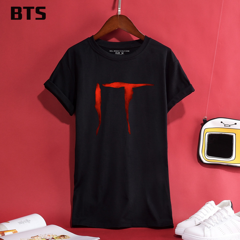 BTS Stephen King's It Halloween T-shirt Women High Quality T Shirt Women Short Creative Hot Sale Cute Tee Shirt Women Plus Size(China)