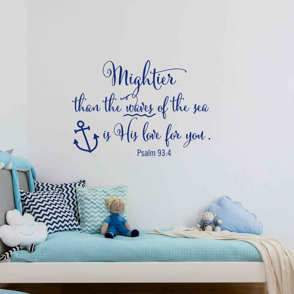 Nautical Style Nursery Wall Decal Mightier Than The Waves Of ...