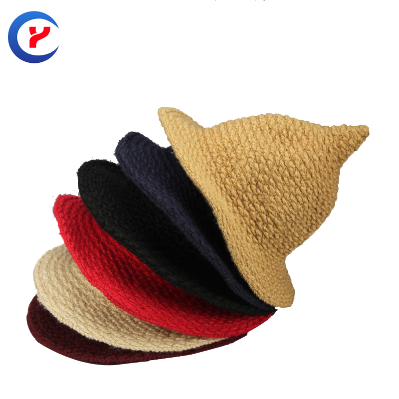 2017 New Fashion women knitted hat Autumn winter witch hat with steepletop Warm mohair casual jacquard Knitted hat #161107_x92Одежда и ак�е��уары<br><br><br>Aliexpress