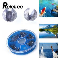 Relefree 0.3/0.4/0.5/0.6/0.8g 86pcs Round Split Shot Lead Weight Fishing Tackle Tool Accessories Lead Drop Fishing Sinker Kits
