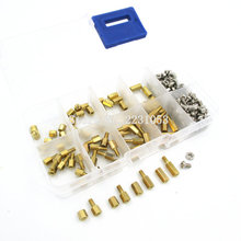 200PCS M3 PCB Hex Male Female Thread Brass Spacer Standoffs/ Screw /Hex Nut Assortment Set Kit With Plastic Box M3*5mm - M3*10mm(China)