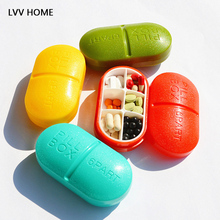LV HOME candy color matte medicine box/Six grid portable medicine boxes chewing gum storage(China)