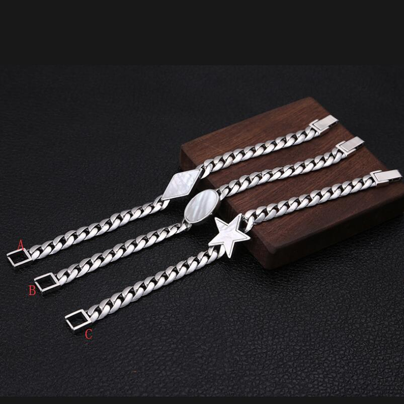 925 sterling silver fashion trend jewelry five-pointed star male bracelet(FGL)