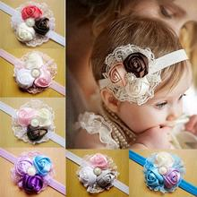 2017 kid Hair accessories newborn lace flowers satin ribbon roses children elastic rhinestone handbands  Retail headwear