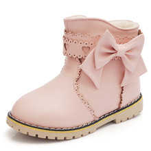 Fashion kids boots girls shoes lovely butterfly-knot pu leather boots girls winter boots kids new hollow warm cotton girls boots