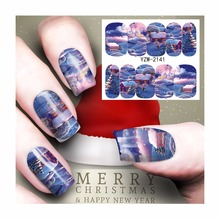 ZKO 1 Sheet Christmas Nail Sticker Water Adhesive Foil Nail Art Decorations Tool Water Decals 3d Design Nail Sticker Makeup 2141