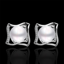 Genuine Shell Pearl White Gold Unique Stud Earrings 2015 New Fashion Jewelry e051 gift box free  for Elegant Lady Women