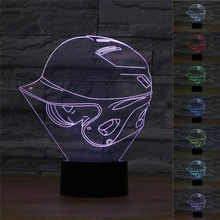 MLB Baseball Hat Illusion Lamp 3D NY Baseball Cap Visual Night Light 7colors changing LED Bedside Lamp New Year Gift(China)