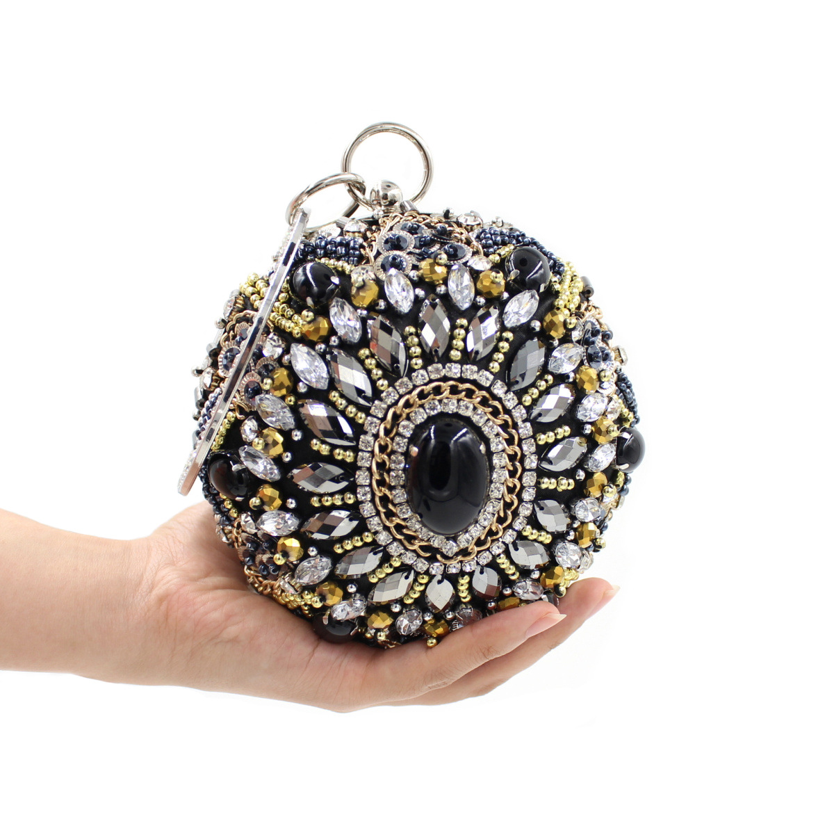 2017 New Women Circular Clutches Evening Bags Diamonds Luxury Earth Beaded Nightclub Ladies Wedding Day Clutches Ring Handle<br>
