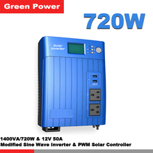 720W/1400VA Modified sine wave power inverter with 12V 50A solar charge controller PWM grid charger funtion connect solar panel