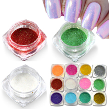 1 BOX Laser Glitter Mermaid Effect Nail Powder Dust Magic Glimmer Nail Art Decoration Tips 12 Colors Beauty DIY Pigment M01-12(China)