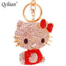 2017 Hello Kitty Keychain for Women Animal Car pendant ornaments Holder Trinket Bag Pendant Ornaments Key Chains keyrings(China)