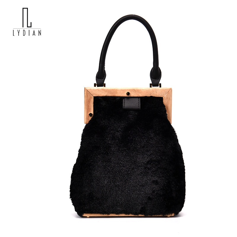 Lydian Women 2017 Plush Wooden Red Messenger Bag Famous Brand Crossbody Day Clutch Luxury Designers Handbag Little Shoulder Bags<br>