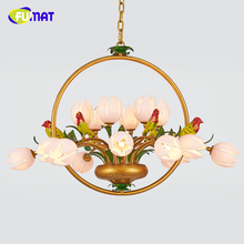 FUMAT American Style Pendant Lights Garden European Living Room Bed Room Lamp LED Floral Glass shade Metal Birds Pendant Lights(China)
