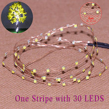 evemodel  DD85W0830 2 Strips 30-LED  Pre-soldered micro Copper Wired WHITE SMD LED 0805 model train 1/35 railway modeling