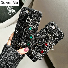 Dower Me Fashion Bling Diamond Metal Hand Chain Pentagram Star Pendant Glitter Phone Case Cover For iPhone X 8 7 6 6S Plus 5S SE(China)