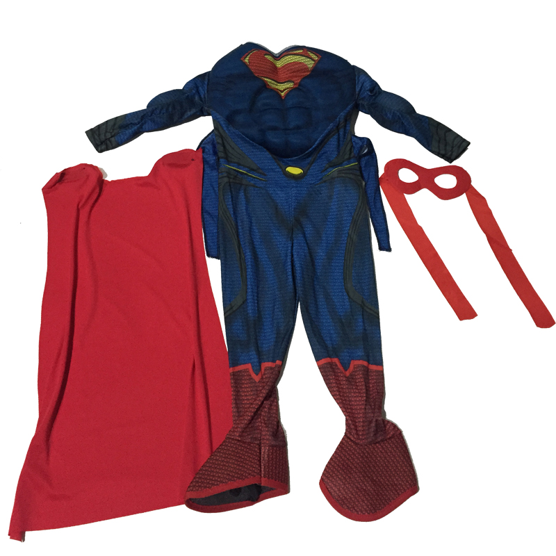 Kids Cospaly Deluxe Muscle Superman Costume Halloween Party Muscle Christmas Superman For Boys Girls Full Body Superman Suit (9)