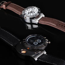 2017 New USB Charge Windproof Electronic Flameless Cigar Cigarette Lighter Sports Wrist Watch Men's Rechargeable Watch Gift LL