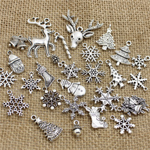 PULCHRITUDE Free Shipping 60Pcs Mixed Antique Silver  Tone Christmas Charms Pendants Wholesale T0466