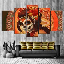 Custom Design Art Painting Girl Flower Sugar Skull Painting Room Decor Print Poster Dead Face Picture Canvas Decoration Unframed(China)