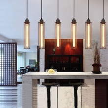WOXOYOZO Metal Wire Long Tube Style Pendent Light Vintage Industrial Hanging Lamp Fixture For Restaurant Bar Coffee Shop