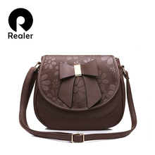 REALER new women handbag female shoulder bag with bow soft ladies saddle bag high quality fashion women crossbody bag