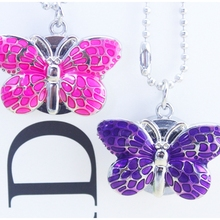 Brand New Fashion Crystal Butterfly Pocket Pendant Key Ring Chain Quartz Dress Watch + Gift Bag  girl Ms. pocket watch