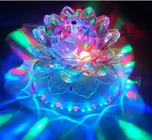 Mini RGB LED Stage Lamps Auto Rotating Crystal Magic Ball Sunflower Stage Effect Lighting Lamp Bulb Party Disco Club DJ Light(China)